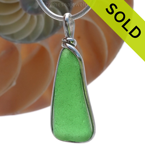 This is a beautiful VIVID Green Sea Glass Pendant set in our signature Original Wire Bezel© setting in Sterling Silver . SOLD - Sorry this Sea Glass Pendant is NO LONGER AVAILABLE!