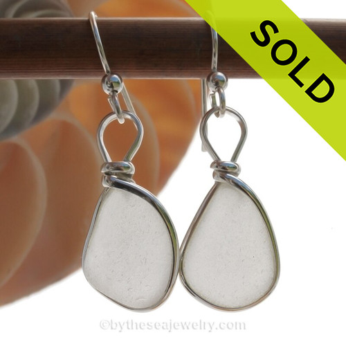 Perfect Pure White Sea Glass Earrings in our Original Wire Bezel© setting in solid sterling silver.