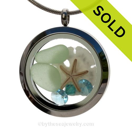 Tropical Memories - Genuine Sea Glass, Sandollar & Starfish with Aqua Gems in a 30MM Locket