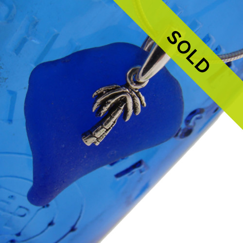 Sea Charmed - Sea Glass on Sterling Bail W/ Palm Tree