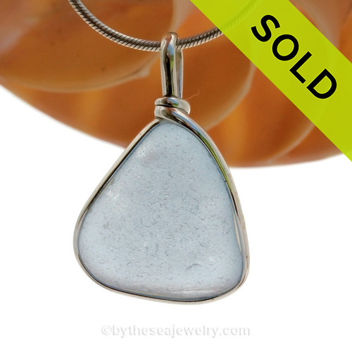 P-E-R-F-E-C-T Triangle Large Baby Blue Sea Glass Pendant In Original Sterling Silver Wire Bezel Setting©