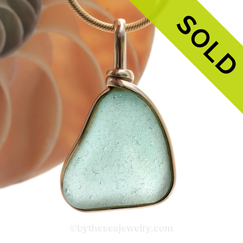 This is a beautiful LARGE and thick Aqua Green Sea Glass set in our Original Wire Bezel© pendant setting with 14K rolled gold.