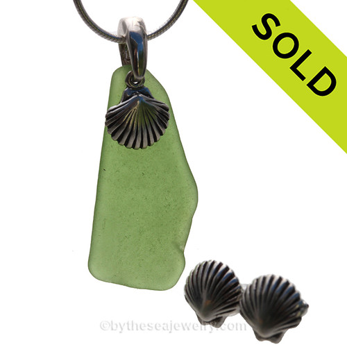 A Nice piece of Green Sea Glass combined with Solid Sterling Shell charms for a great beachy looking Sea Glass Necklace. SOLD - Sorry this Sea Glass Necklace is NO LONGER AVAILABLE!!!