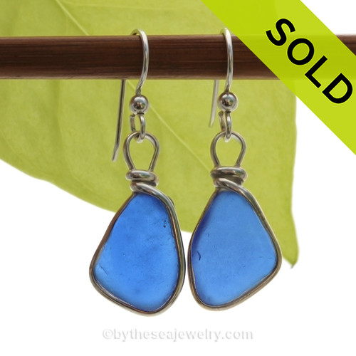 Genuine Bright Blue Sea Glass Earrings in our Original Wire Bezel© Sterling Silver setting. SOLD - Sorry these Rare Sea Glass Earrings are NO LONGER AVAILABLE!