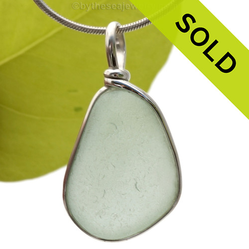This is a LARGE and PERFECT Pale Seafoam Green Genuine Sea Glass set in our Original Wire Bezel© pendant setting in Sterling Silver. SOLD - Sorry this Sea Glass Pendant is NO LONGER AVAILABLE!