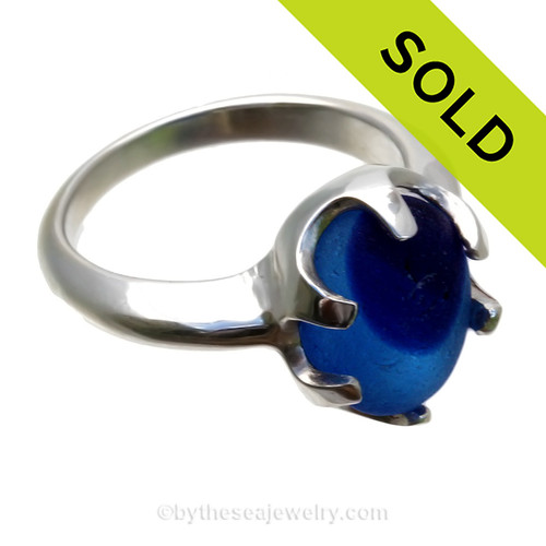 A stunning piece of Victorian Era vivid Royal Blue sea glass set in a secure solid sterling prong ring. SOLD - Sorry this Sea Glass Ring is NO LONGER AVAILABLE!