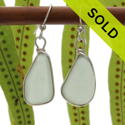Large and Long beach found Seafoam Green Sea Glass Earrings set in our signature Original Wire Bezel© setting in silver.
