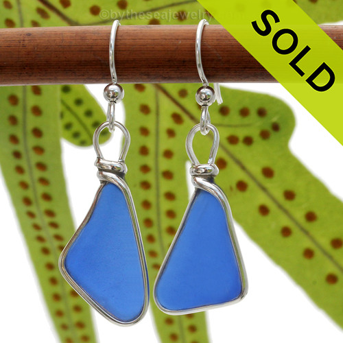 Genuine Bright Cobalt Blue Sea Glass Earrings in our Original Wire Bezel© Sterling Silver setting. Our original Wire Bezel Earring setting lets all the beauty of these beauties shine. SOLD - Sorry these Rare Sea Glass Earrings are NO LONGER AVAILABLE