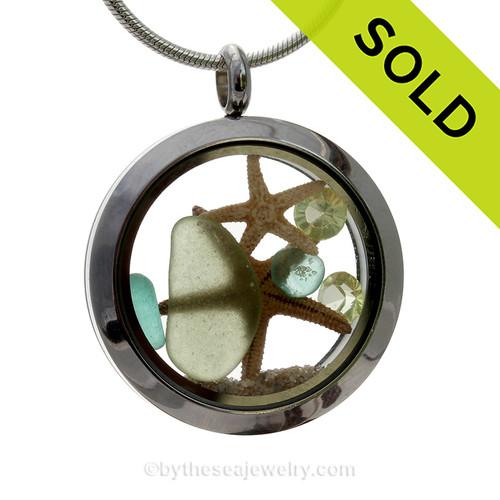 Genuine Pale Peridot Green and Aqua Sea Glass, Two Starfish with Peridot Gems