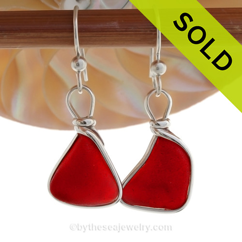 Riptide Rubies - Genuine Red Ruby Beach Found Sea Glass Earrings In Solid Sterling Original Wire Bezel©