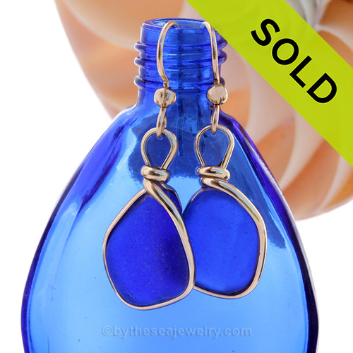 Our By The Sea Jewelry Original Wire Bezel setting makes these cobalt blue earrings a stunning choice for any beach lover! SOLD - Sorry these Rare Sea Glass Earrings are NO LONGER AVAILABLE!