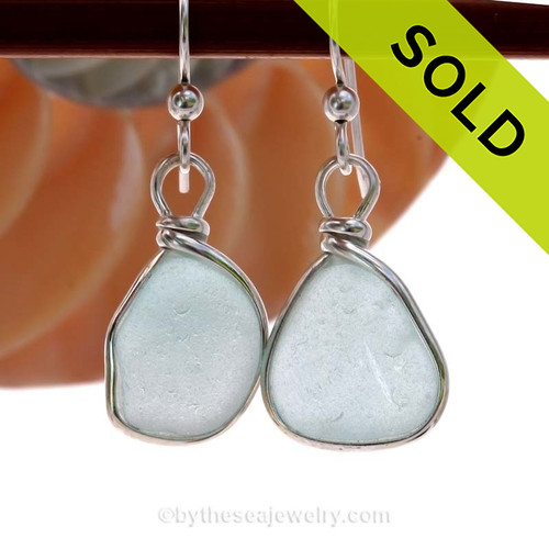 Beautiful Pale Aqua Blue Sea Glass Earrings set in our signature Original Wire Bezel© setting in Sterling Silver. SOLD - Sorry these Rare Sea Glass Earrings are NO LONGER AVAILABLE!