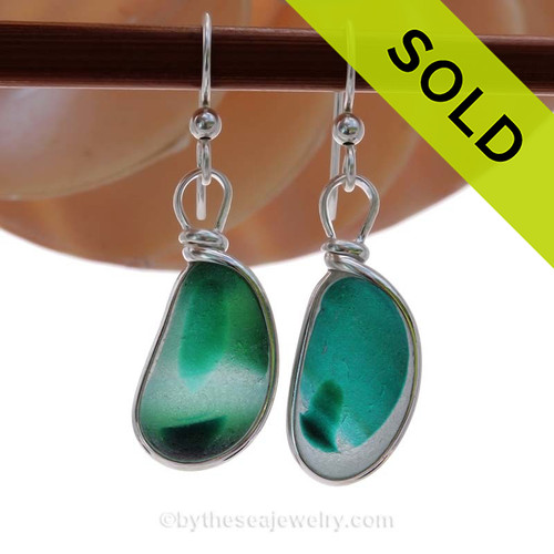 LARGE Mixed or Multi Green and Teal Sea Glass Earrings set in our Original Wire Bezel© setting In Solid Sterling Silver. SOLD - Sorry these Sea Glass Earrings are NO LONGER AVAILABLE!