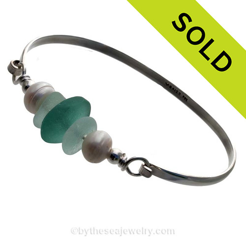 Seafoam Green Sea Glass pieces and a large Aqua recycled glass bead on this Solid Sterling Silver Half Round Bangle Bracelet with LARGE real Cultured Freshwater Pearls. SOLD - Sorry this Sea Glass Bangle Bracelet is NO LONGER AVAILABLE!