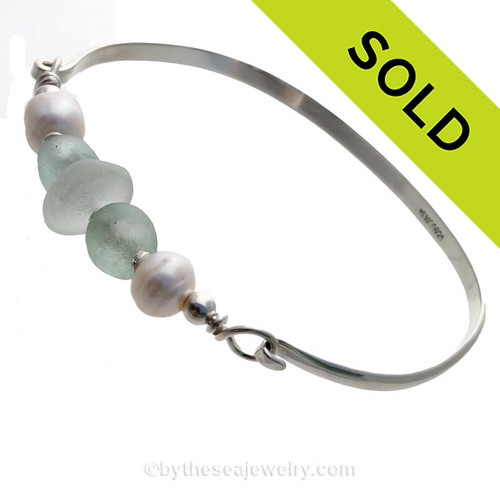 Pure White Sea Glass pieces and a sea green recycled glass beads on this Solid Sterling  Half Round Bangle Bracelet with LARGE real Cultured Freshwater Pearls. SOLD - Sorry this Sea Glass Bangle Bracelet is NO LONGER AVAILABLE!