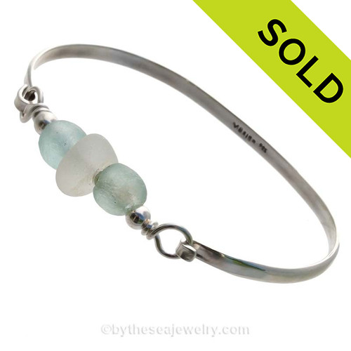 Pure White Sea Glass pieces and a sea green recycled glass beads on this Solid Sterling  Half Round Bangle Bracelet. SOLD - Sorry this Sea Glass Bangle Bracelet is NO LONGER AVAILABLE!