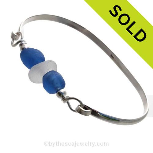 Sea & Sky - White Sea Glass and Blue Beads Sea Glass Bracelet On Solid Sterling Bangle
