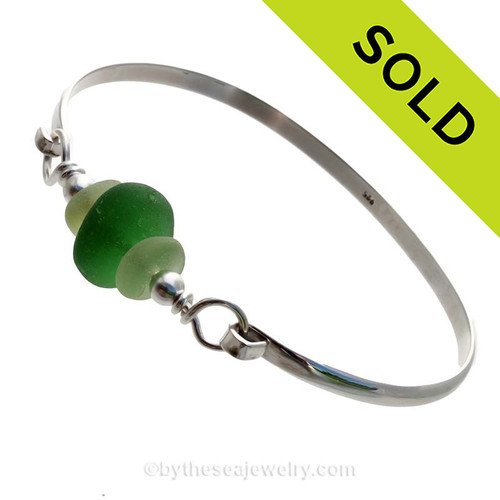 3 Pieces of Genuine Sea Glass in stunning Greens on this Solid Sterling  Half Round Bangle Bracelet. SOLD - Sorry this Sea Glass Bangle Bracelet is NO LONGER AVAILABLE!
