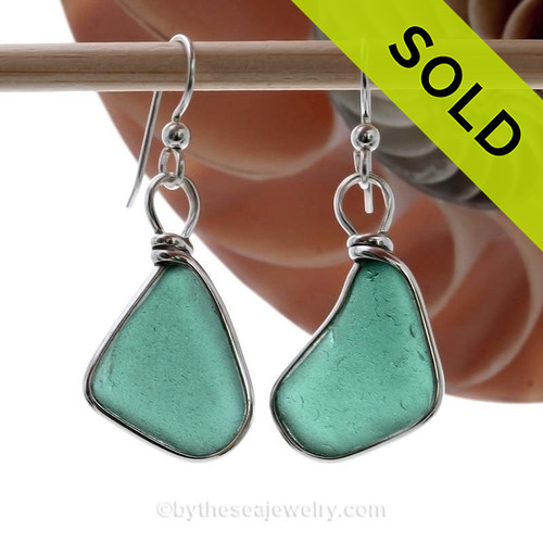 Genuine Deep Teal or Turquoise Green Genuine Sea Glass Earrings in our Original Wire Bezel is Solid Sterling Silver.