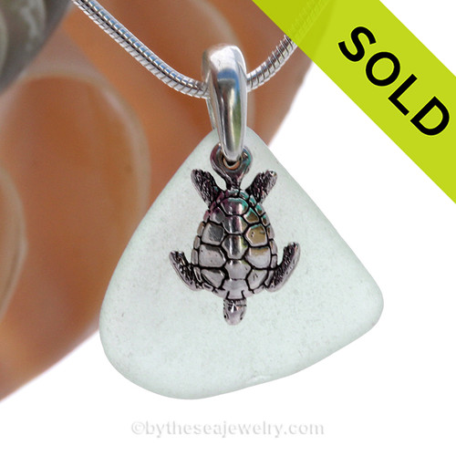 """Pale Seafoam Green Sea Glass With Sterling Silver Sea Turtle Charm - 18"""" STERLING CHAIN INCLUDED SOLD - Sorry this Sea Glass Locket is NO LONGER AVAILABLE!"""