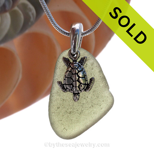 Bright Peridot Green Sea Glass Necklace with Beach found green sea glass and solid sterling silver sea turtle charm and Solid Sterling Silver Snake chain. SOLD - Sorry this Sea Glass Necklace is NO LONGER AVAILABLE!