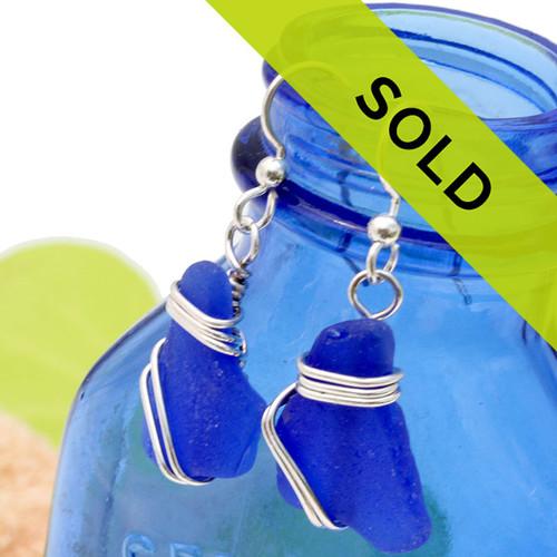 Cobalt Blue Sea Glass In Triple Sterling Wrapped Earrings
