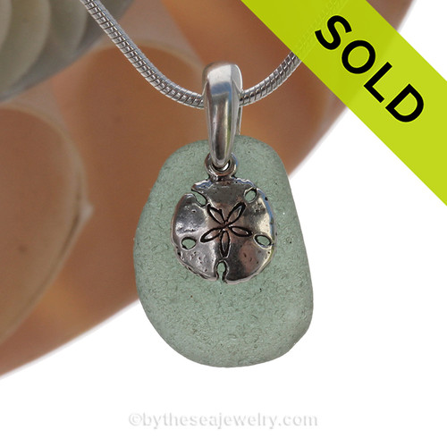 "Smaller Teal Green Sea Glass With Sterling Silver Sandollar Charm - 18"" STERLING CHAIN INCLUDED. SOLD - Sorry this Sea Glass Necklace is NO LONGER AVAILABLE!"