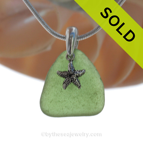 Green Genuine Sea Glass Necklace with Beach found Sea Glass and Solid Sterling Starfish charm and Solid Sterling Silver Snake chain.