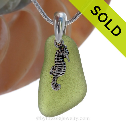 "Green VIVID Peridot Green Genuine Sea Glass Necklace with Solid Sterling Silver Seahorse  Charm - 18"" Solid Sterling Chain INCLUDED. SOLD - Sorry this Sea Glass Necklace is NO LONGER AVAILABLE!"