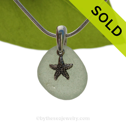 Seafoam Green Sea Glass Necklace With Sterling Silver Sandollar Starfish Charm. SOLD - Sorry this Sea Glass Necklace is NO LONGER AVAILABLE!