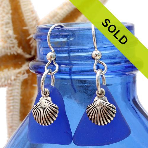 Sea Charmed - Large Blue Sea Glass Earrings W/ Sterling Shells