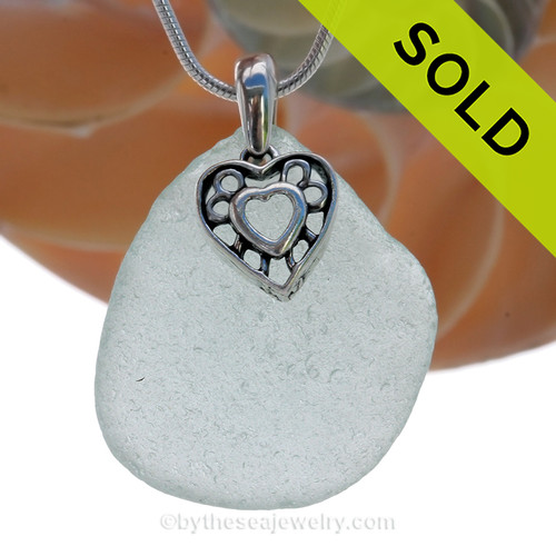"LARGE Pale Aqua Green Sea Glass Necklace with Sterling Silver Heart In Heart Charm - 18"" Solid Sterling Chain INCLUDED"