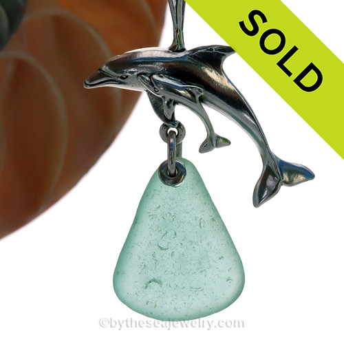 "LARGE Mother and baby Dolphin Sterling Silver Necklace with Aqua Green Sea Glass - 18"" STERLING CHAIN INCLUDED SOLD - Sorry this Sea Glass Necklace is NO LONGER AVAILABLE!"