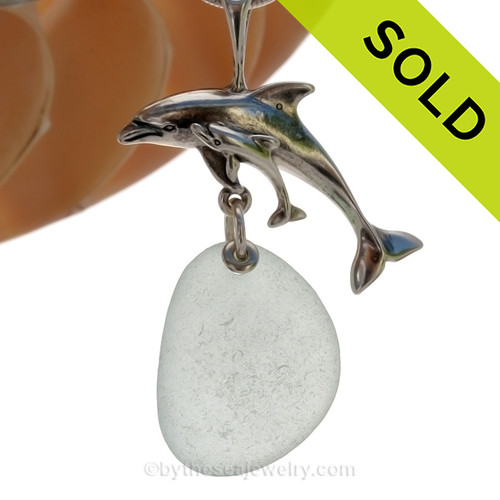 "LARGE Mother and baby Dolphin Sterling Silver Necklace with Pale Green Sea Glass - 18"" STERLING CHAIN INCLUDED SOLD - Sorry this Sea Glass Necklace is NO LONGER AVAILABLE"