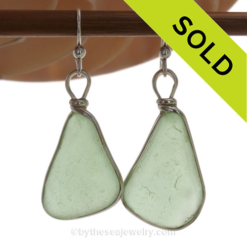 LARGE and PERFECT Yellowy Seafoam Green  beach found Sea Glass Earrings set in our signature Original Wire Bezel© setting in silver.