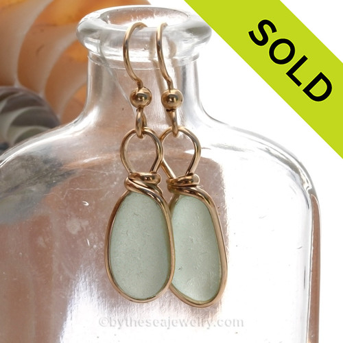 Perfect Petite Seafoam Green Beach Found Sea Glass Earrings In 14K Goldfilled Original Bezel©