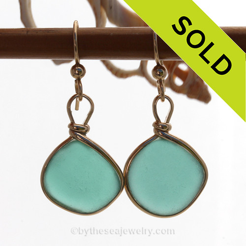 Natural Genuine UNALTERED sea glass pieces in a Vivid Turquoise or Deep Aqua Green wrapped in 14K Rolled Gold for a lovely classic pair or earrings!