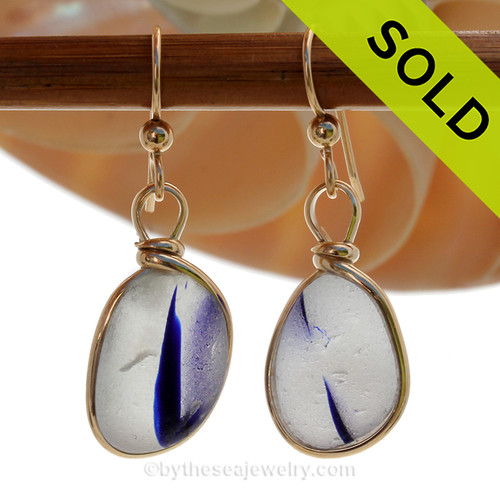 Cross Sectioned White and Electric Cobalt Blue Sea Glass Earrings set in our Original Wire Bezel© setting In Sold Sterling Silver. SOLD - Sorry these Rare Sea Glass Earrings are NO LONGER AVAILABLE!