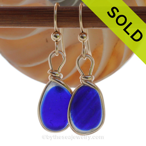 Stunning Electric Cobalt Blue Mixed Sea Glass Earrings in our Original Wire Bezel in 14K Goldfilled. SOLD - Sorry these Rare Sea Glass Earrings are NO LONGER AVAILABLE!