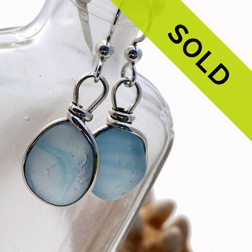 Sorry this pair of ultra rare sea glass earrings with Seaham Sea Glass has sold!