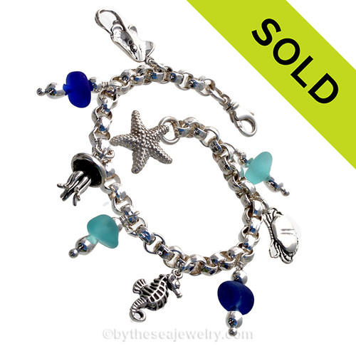 Tropical Escape - Aqua and Blue Sea Glass Charm Bracelet With Sealife Charms
