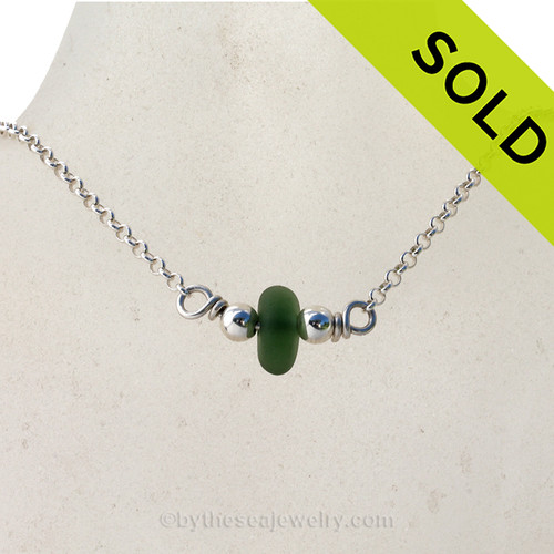 Simple petite Jungle Green Sea Glass on a small Rolo chain with Dolphin clasp. SOLD - Sorry this Sea Glass Necklace is NO LONGER AVAILABLE!