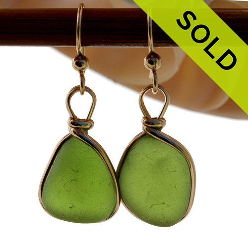Natural Genuine UNALTERED Vivid Glowing Green sea glass pieces in a unusual green expertly wrapped in 14K Rolled Gold for a lovely classic pair or earrings! SOLD - Sorry these Rare Sea Glass Earrings are NO LONGER AVAILABLE!