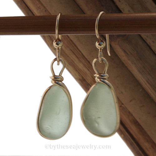 Chunky Thick Seafoam Green Beach Found Sea Glass Earrings In 14K Goldfilled Original Bezel©