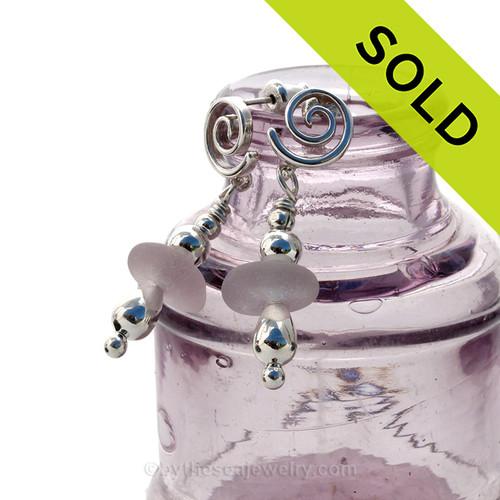 Purple Passion - Amethyst Sea Glass Sterling Sea Swirl Post Earrings