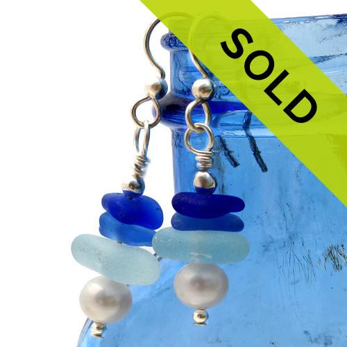 Sea Glass Stacked Earrings On Sterling In Blues & Aqua