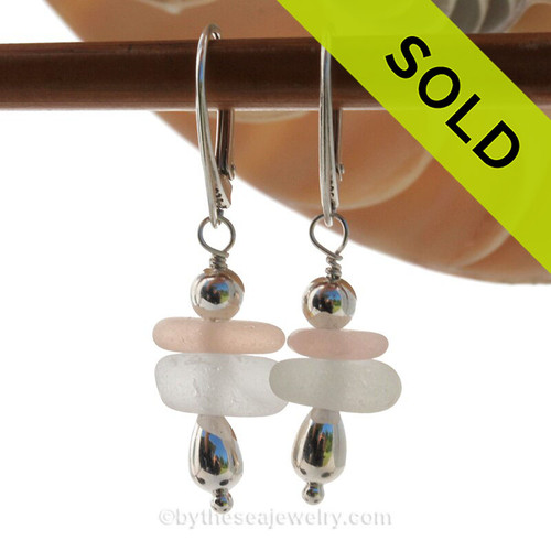 Beautiful Perfect peach and white sea glass pieces set in our a lovely stacked earring and finished with Sterling Silver Leverbacks.