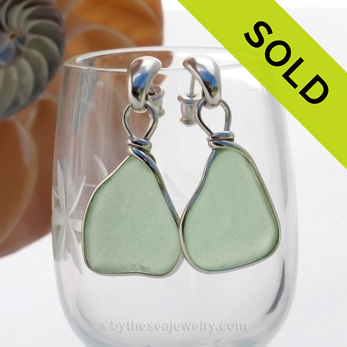 Genuine beach found LARGE  Seafoam Green Sea Glass Earrings in a Solid Sterling Silver Original Wire Bezel© setting on Sterling Silver posts.