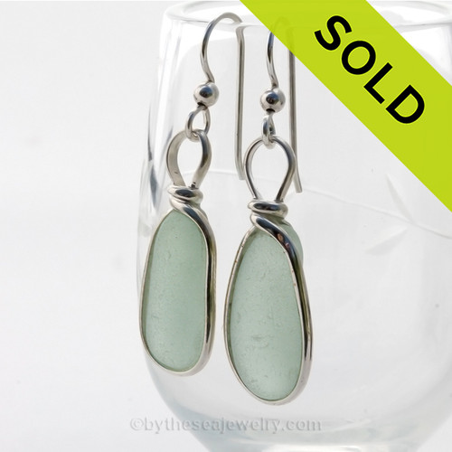Long and lovely Seafoam Green Sea Glass Earrings in our Original Wire Bezel© setting in Solid Sterling Silver. SOLD - Sorry these Sea Glass Earrings are NO LONGER AVAILABLE!