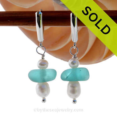 Vivid thick Aqua Sea Glass Earrings with Cultured Pearls in sterling silver on Leverbacks. SOLD - Sorry these Rare Sea Glass Earrings are NO LONGER AVAILABLE!